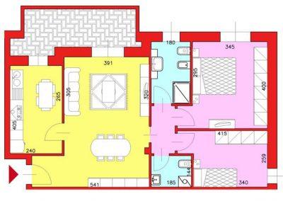 Appartamento di 86 mq posto al Piano Primo con 2 camere e cucina compresa cantina escluso Garage
