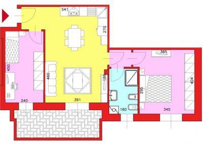 Appartamento di 72 mq posto al Piano Terzo con 1 camera e cucina abitabile compresa cantina escluso Garage