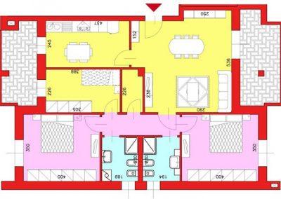 Appartamento di 111 mq posto al Piano Terzo con 3 camere e cucina abitabile compresa cantina escluso Garage