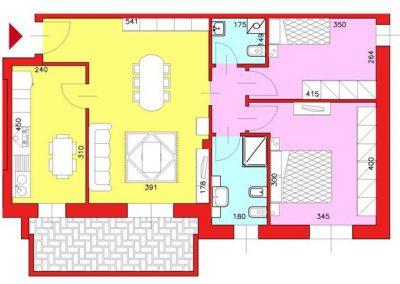 Appartamento di 87 mq posto al Piano Primo con 2 camere e cucina compresa cantina escluso Garage