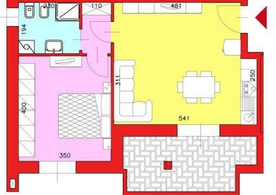 Appartamento di 57 mq posto al Piano Primo con 1 camera compresa cantina escluso Garage
