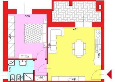 Appartamento di 55 mq posto al Piano Primo con 1 camera compresa cantina escluso Garage
