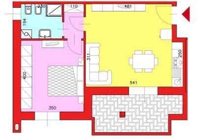 Appartamento di 57 mq posto al Piano Secondo con 1 camera compresa cantina escluso Garage