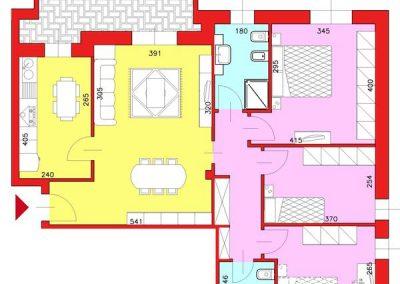 Appartamento di 101 mq posto al Piano Terzo con 3 camere e cucina abitabile compresa cantina escluso Garage