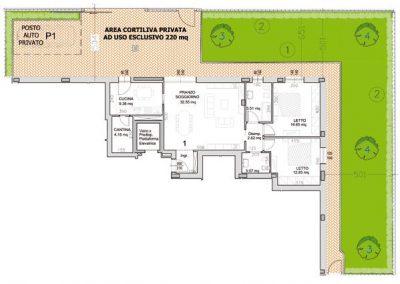 01 • Piano Terra di mq 103,56 con giardino privato di mq 220