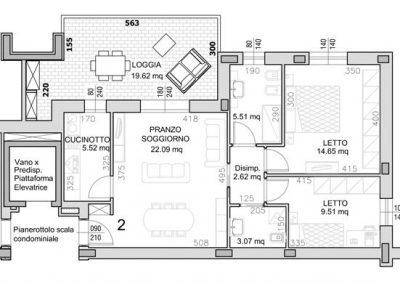 02 • Piano Primo di mq 78,15 con loggia di mq 19,62
