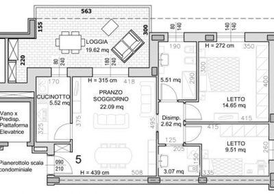 05 • Piano Secondo di mq 78,15 con loggia di mq 19,62